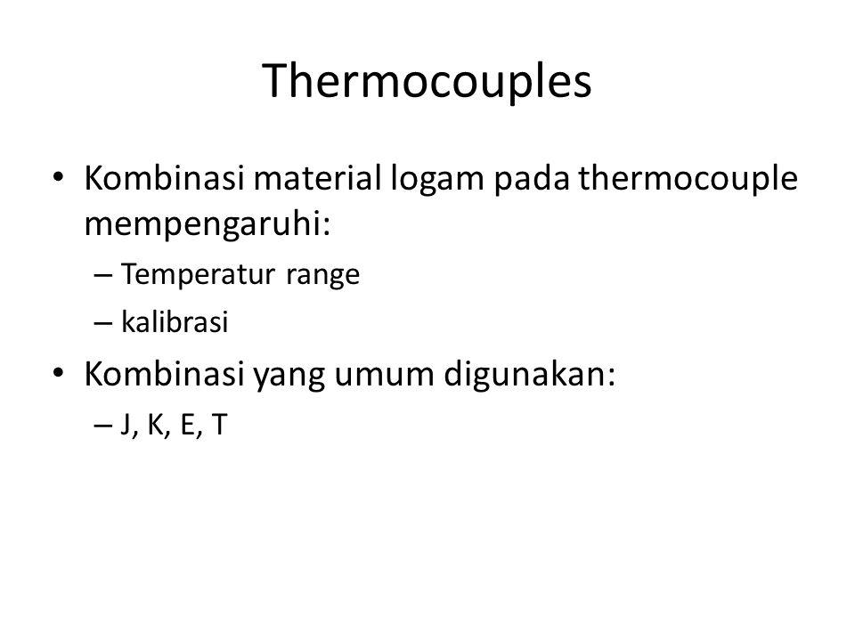 Thermocouples Kombinasi material logam pada thermocouple mempengaruhi: – Temperatur range – kalibrasi Kombinasi yang umum digunakan: – J, K, E, T