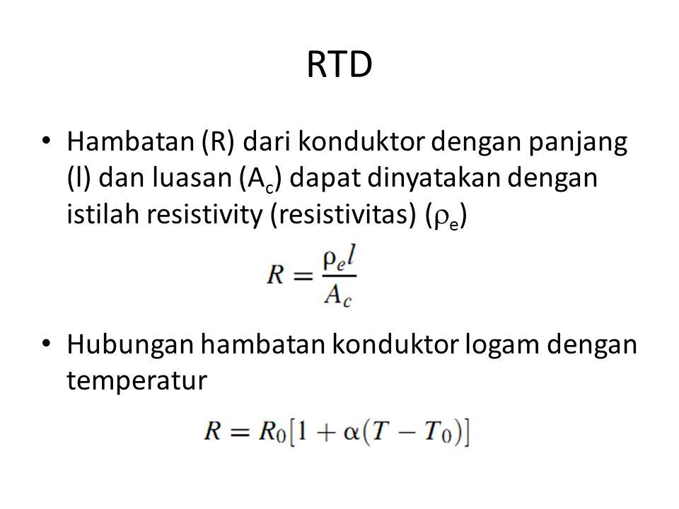 RTD Hambatan (R) dari konduktor dengan panjang (l) dan luasan (A c ) dapat dinyatakan dengan istilah resistivity (resistivitas) (  e ) Hubungan hamba