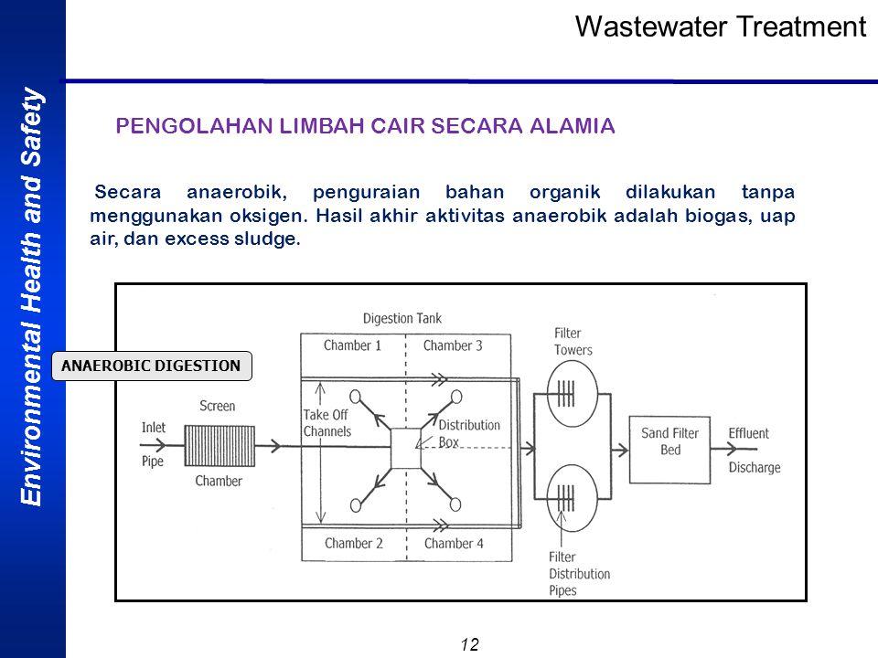 Environmental Health and Safety 12 Wastewater Treatment PENGOLAHAN LIMBAH CAIR SECARA ALAMIA ANAEROBIC DIGESTION Secara anaerobik, penguraian bahan or