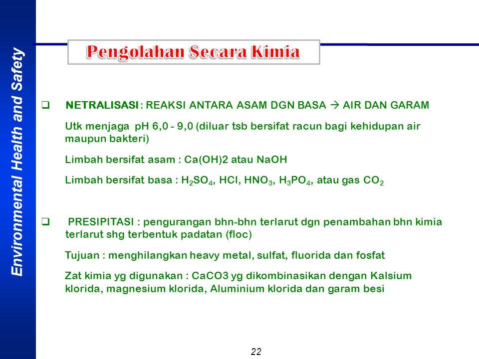 Environmental Health and Safety 22  NETRALISASI : REAKSI ANTARA ASAM DGN BASA  AIR DAN GARAM Utk menjaga pH 6,0 - 9,0 (diluar tsb bersifat racun bag