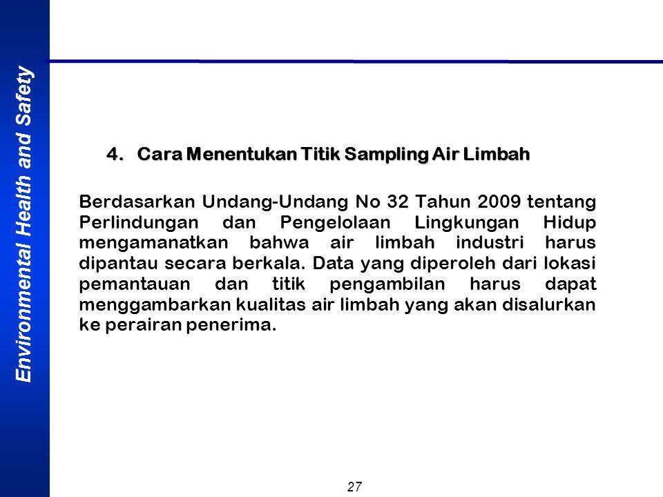 Environmental Health and Safety 27 4. Cara Menentukan Titik Sampling Air Limbah Berdasarkan Undang-Undang No 32 Tahun 2009 tentang Perlindungan dan Pe