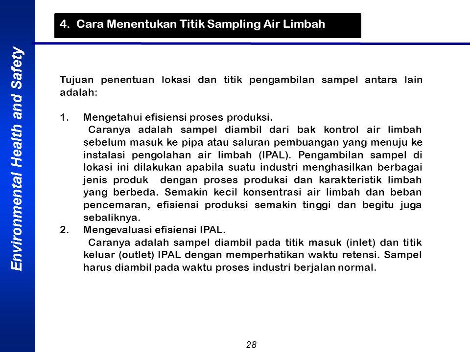 Environmental Health and Safety 28 4. Cara Menentukan Titik Sampling Air Limbah Tujuan penentuan lokasi dan titik pengambilan sampel antara lain adala