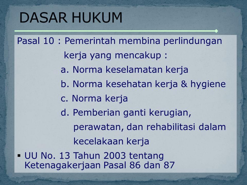 (1)Setiap pekerja/ buruh mempunyai hak untuk memperoleh perlindungan atas : a.