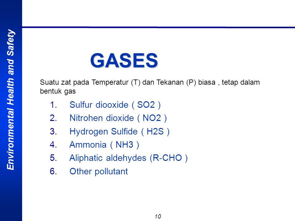 Environmental Health and Safety 9 GAS : Suatu zat pd T dan P biasa, tetap dalam bentuk gas seperti oksigen, nitrogen, atau karbon dioksida dalam bentu