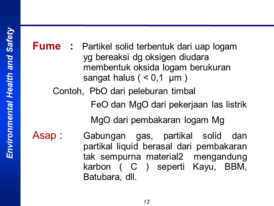 Environmental Health and Safety 12 Debu : Partikel solid halus, berasal dari pecahan material besar akibat proses drilling atau crushing. Fiber asber