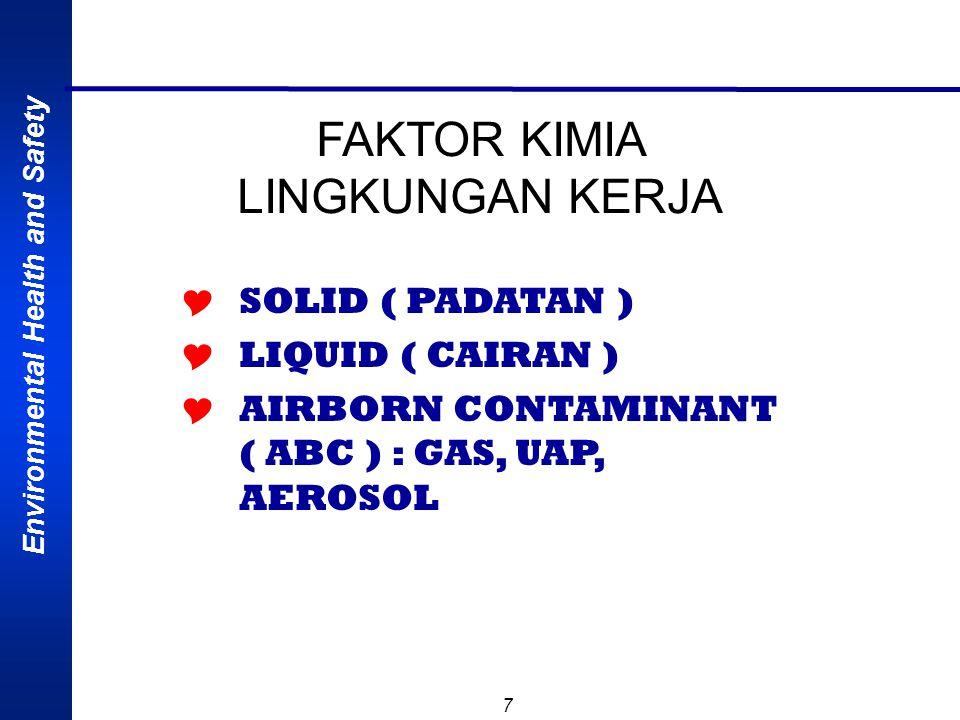 7 FAKTOR KIMIA LINGKUNGAN KERJA  SOLID ( PADATAN )  LIQUID ( CAIRAN )  AIRBORN CONTAMINANT ( ABC ) : GAS, UAP, AEROSOL