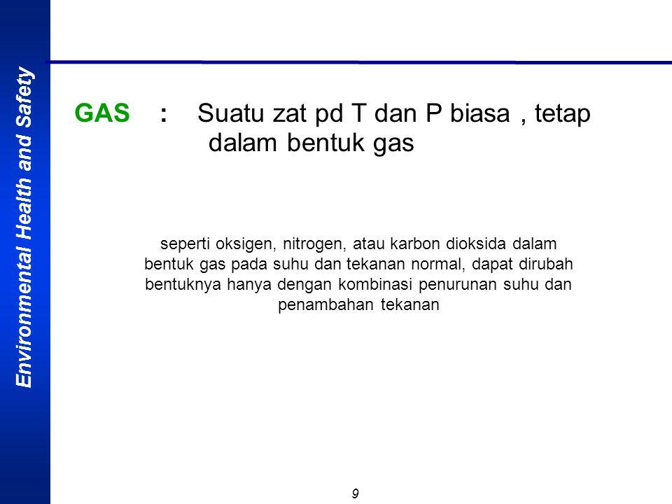 Environmental Health and Safety 9 GAS : Suatu zat pd T dan P biasa, tetap dalam bentuk gas seperti oksigen, nitrogen, atau karbon dioksida dalam bentuk gas pada suhu dan tekanan normal, dapat dirubah bentuknya hanya dengan kombinasi penurunan suhu dan penambahan tekanan