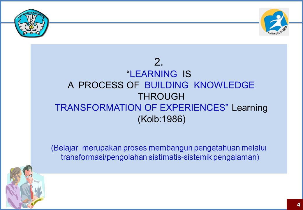 "4 2. ""LEARNING IS A PROCESS OF BUILDING KNOWLEDGE THROUGH TRANSFORMATION OF EXPERIENCES"" Learning (Kolb:1986) (Belajar merupakan proses membangun peng"