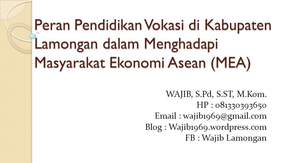Peran Pendidikan Vokasi di Kabupaten Lamongan dalam Menghadapi Masyarakat Ekonomi Asean (MEA) WAJIB, S.Pd, S.ST, M.Kom. HP : 081330393650 Email : waji