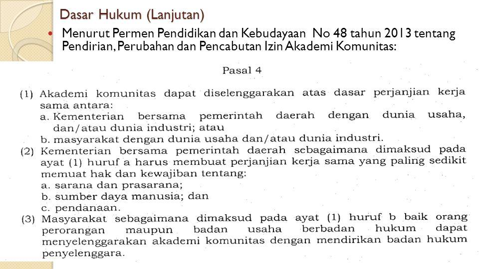 Dasar Hukum (Lanjutan) Menurut Permen Pendidikan dan Kebudayaan No 48 tahun 2013 tentang Pendirian, Perubahan dan Pencabutan Izin Akademi Komunitas: M