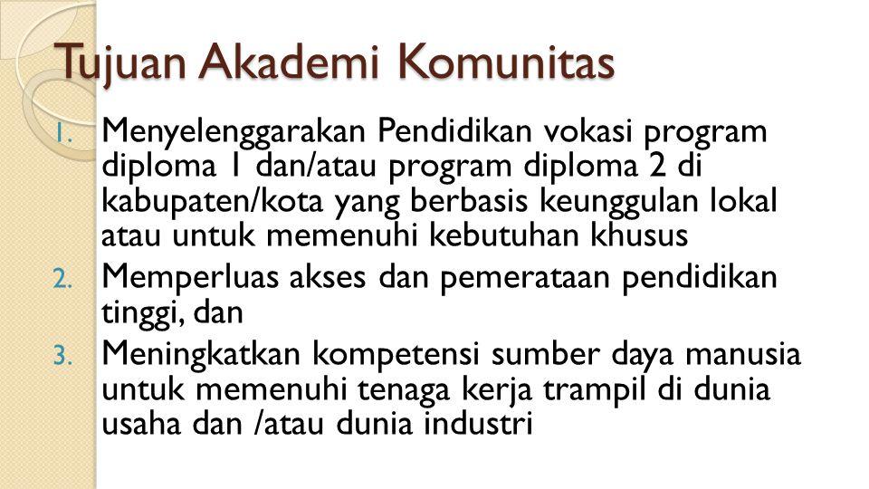 Tujuan Akademi Komunitas 1. Menyelenggarakan Pendidikan vokasi program diploma 1 dan/atau program diploma 2 di kabupaten/kota yang berbasis keunggulan