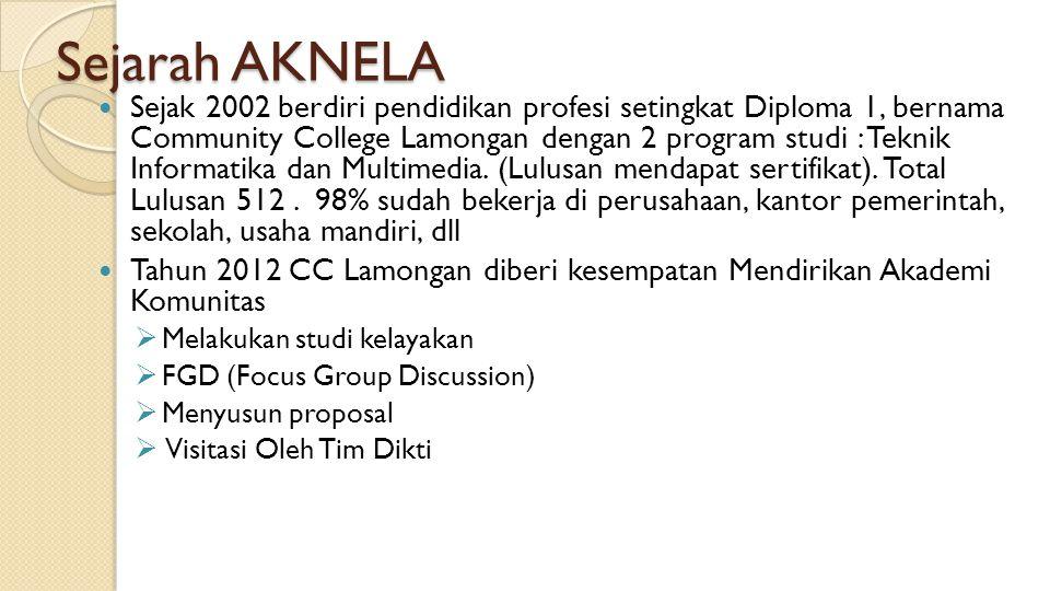 Sejarah AKNELA Sejak 2002 berdiri pendidikan profesi setingkat Diploma 1, bernama Community College Lamongan dengan 2 program studi : Teknik Informati