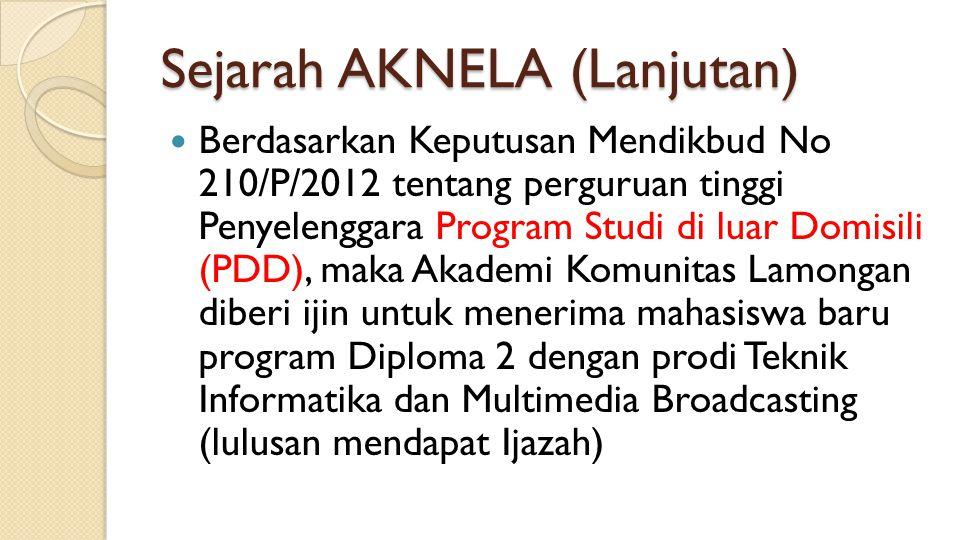 Sejarah AKNELA (Lanjutan) Berdasarkan Keputusan Mendikbud No 210/P/2012 tentang perguruan tinggi Penyelenggara Program Studi di luar Domisili (PDD), m