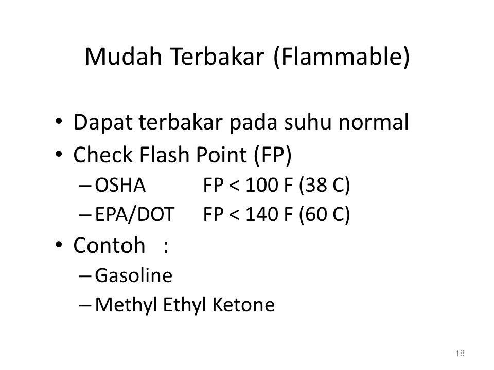 Mudah Terbakar (Flammable) Dapat terbakar pada suhu normal Check Flash Point (FP) – OSHA FP < 100 F (38 C) – EPA/DOT FP < 140 F (60 C) Contoh : – Gasoline – Methyl Ethyl Ketone 18