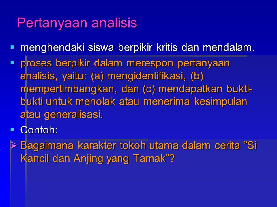 Pertanyaan analisis  menghendaki siswa berpikir kritis dan mendalam.  proses berpikir dalam merespon pertanyaan analisis, yaitu: (a) mengidentifikas