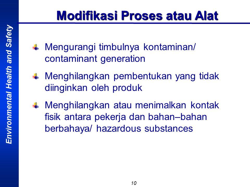 Environmental Health and Safety 10 Modifikasi Proses atau Alat Mengurangi timbulnya kontaminan/ contaminant generation Menghilangkan pembentukan yang