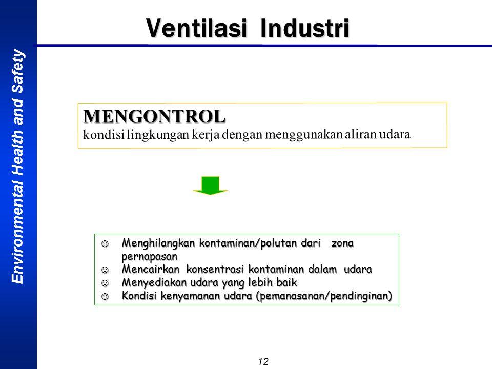 Environmental Health and Safety 12 Ventilasi Industri MENGONTROL kondisi lingkungan kerja dengan menggunakan aliran udara ☺Menghilangkan kontaminan/polutan dari zona pernapasan ☺Mencairkan konsentrasi kontaminan dalam udara ☺Menyediakan udara yang lebih baik ☺Kondisi kenyamanan udara (pemanasanan/pendinginan)