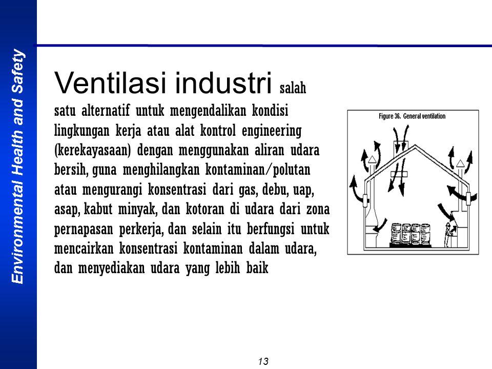 Environmental Health and Safety 13 Ventilasi industri salah satu alternatif untuk mengendalikan kondisi lingkungan kerja atau alat kontrol engineering