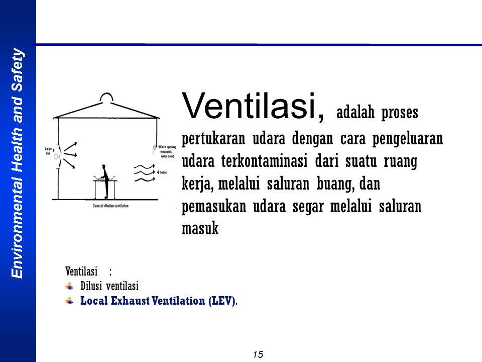 Environmental Health and Safety 15 Ventilasi, adalah proses pertukaran udara dengan cara pengeluaran udara terkontaminasi dari suatu ruang kerja, melalui saluran buang, dan pemasukan udara segar melalui saluran masuk Ventilasi : Dilusi ventilasi Local Exhaust Ventilation (LEV).