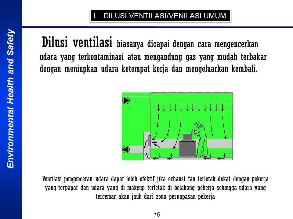 Environmental Health and Safety 16 I. DILUSI VENTILASI/VENILASI UMUM Dilusi ventilasi biasanya dicapai dengan cara mengencerkan udara yang terkontamin