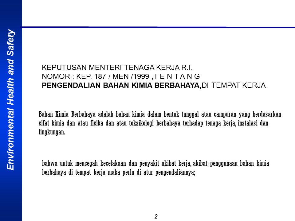 Environmental Health and Safety 2 KEPUTUSAN MENTERI TENAGA KERJA R.I. NOMOR : KEP. 187 / MEN /1999,T E N T A N G PENGENDALIAN BAHAN KIMIA BERBAHAYA,DI