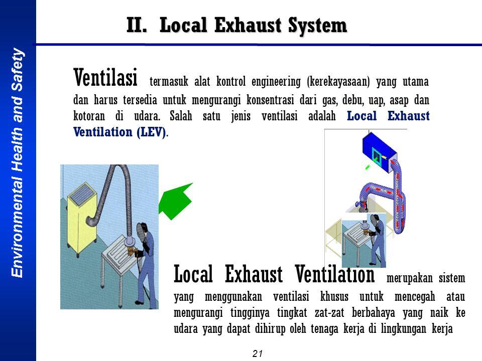 Environmental Health and Safety 21 Ventilasi termasuk alat kontrol engineering (kerekayasaan) yang utama dan harus tersedia untuk mengurangi konsentrasi dari gas, debu, uap, asap dan kotoran di udara.