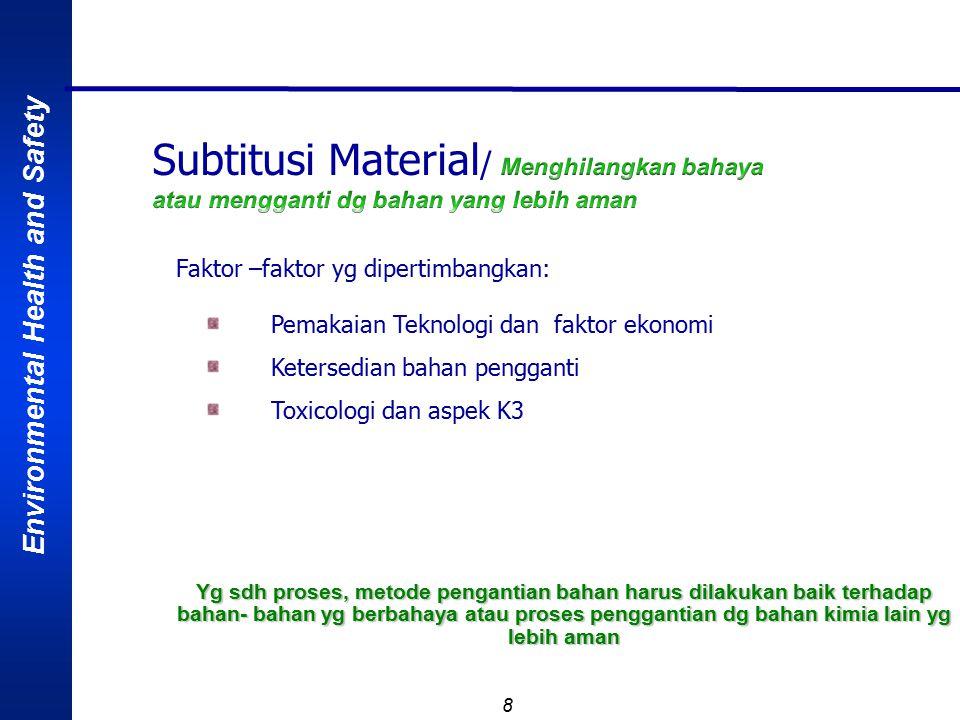 Environmental Health and Safety 8 Faktor –faktor yg dipertimbangkan: Pemakaian Teknologi dan faktor ekonomi Ketersedian bahan pengganti Toxicologi dan