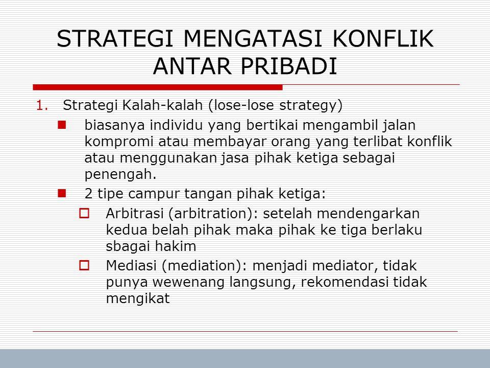 Trisnadi Wijaya, SE, S.Kom Manajemen Umum7 STRATEGI MENGATASI KONFLIK ANTAR PRIBADI 1.Strategi Kalah-kalah (lose-lose strategy) biasanya individu yang