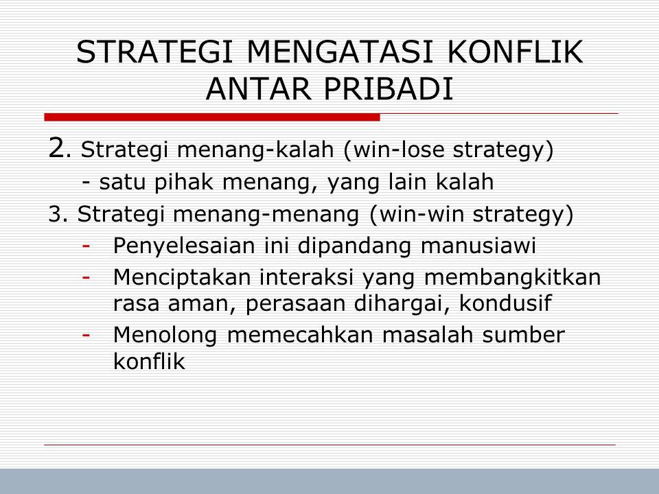 Trisnadi Wijaya, SE, S.Kom Manajemen Umum8 2. Strategi menang-kalah (win-lose strategy) - satu pihak menang, yang lain kalah 3. Strategi menang-menang