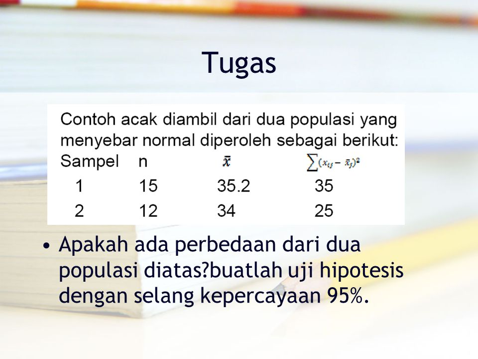 Tugas Apakah ada perbedaan dari dua populasi diatas?buatlah uji hipotesis dengan selang kepercayaan 95%.