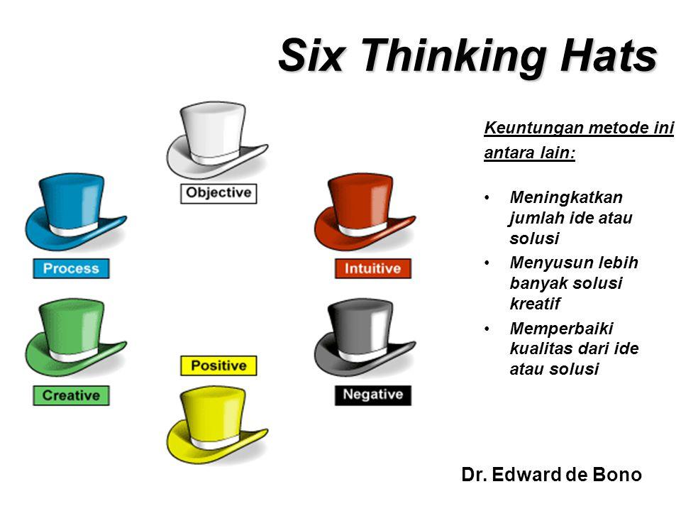 Six Thinking Hats Keuntungan metode ini antara lain: Meningkatkan jumlah ide atau solusi Menyusun lebih banyak solusi kreatif Memperbaiki kualitas dar