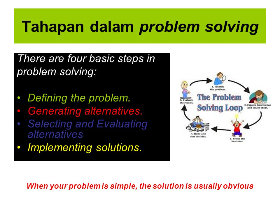 Tahapan dalam problem solving There are four basic steps in problem solving: Defining the problem. Generating alternatives. Selecting and Evaluating a