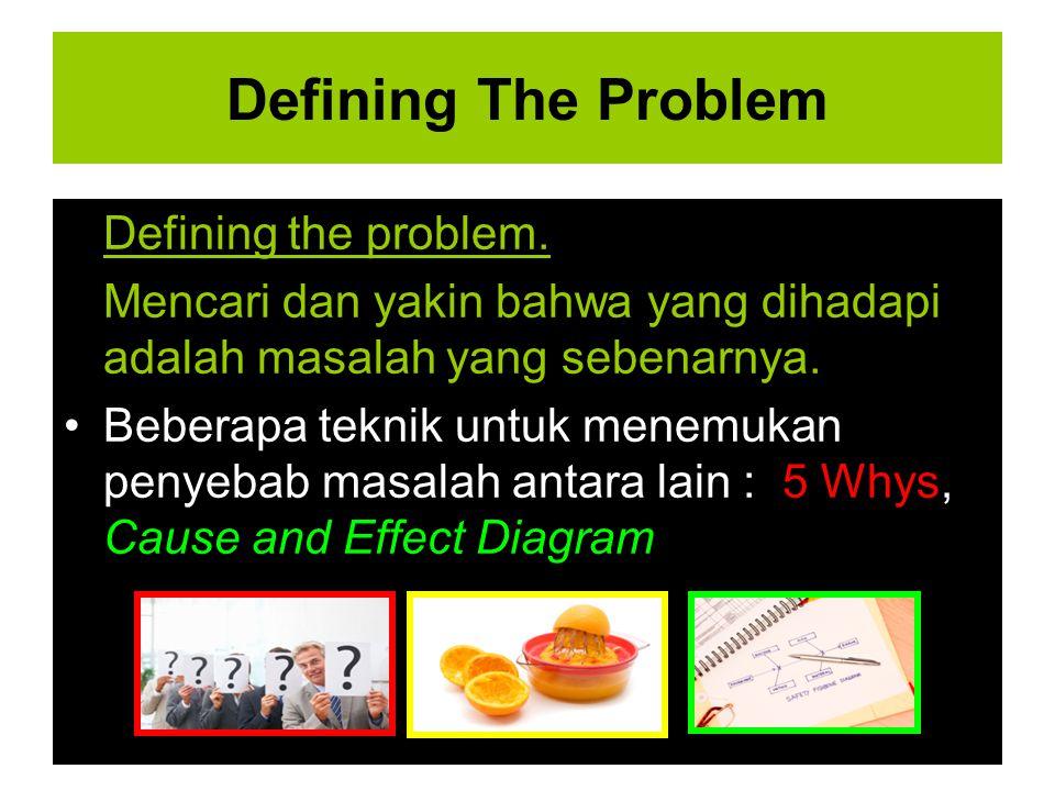 Defining The Problem Defining the problem. Mencari dan yakin bahwa yang dihadapi adalah masalah yang sebenarnya. Beberapa teknik untuk menemukan penye