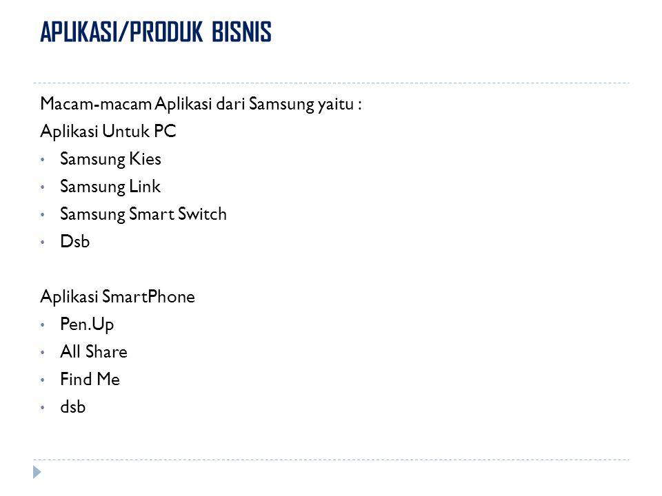 APLIKASI/PRODUK BISNIS Macam-macam Aplikasi dari Samsung yaitu : Aplikasi Untuk PC Samsung Kies Samsung Link Samsung Smart Switch Dsb Aplikasi SmartPh