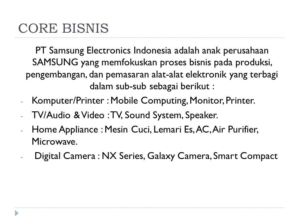 CORE BISNIS PT Samsung Electronics Indonesia adalah anak perusahaan SAMSUNG yang memfokuskan proses bisnis pada produksi, pengembangan, dan pemasaran
