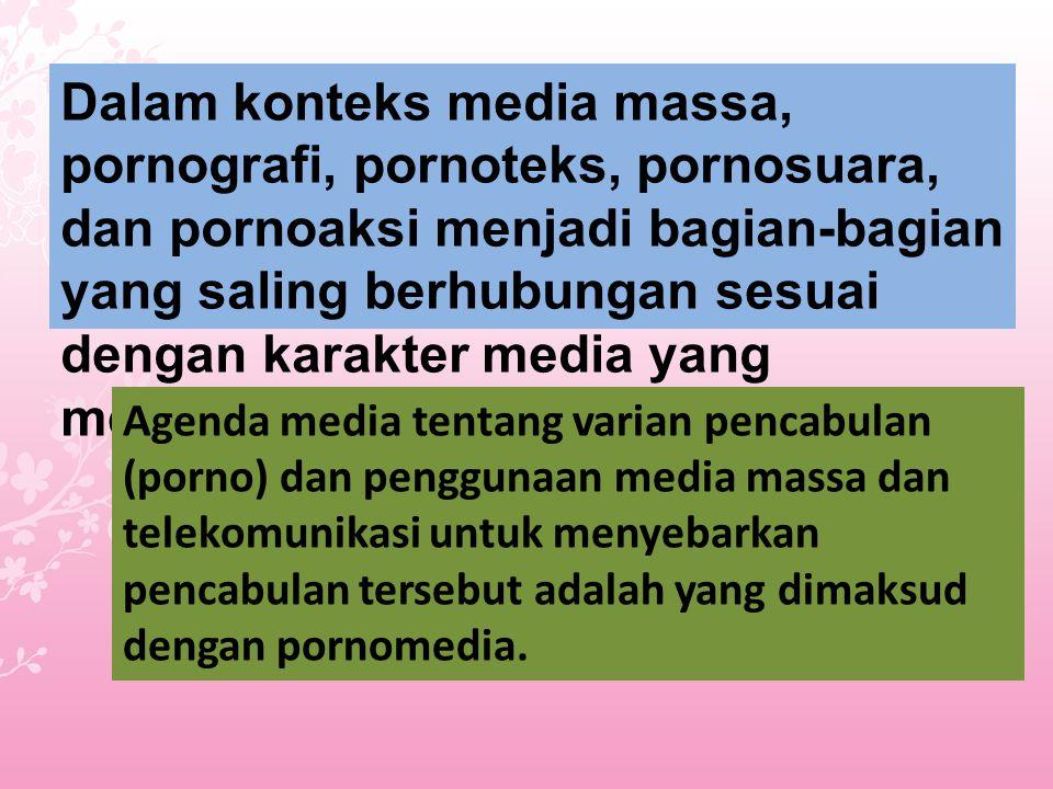 Dalam konteks media massa, pornografi, pornoteks, pornosuara, dan pornoaksi menjadi bagian-bagian yang saling berhubungan sesuai dengan karakter media yang menyiarkan porno tersebut.
