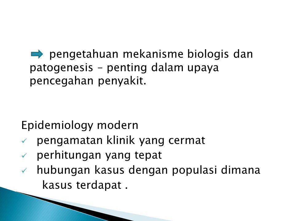 pengetahuan mekanisme biologis dan patogenesis – penting dalam upaya pencegahan penyakit. Epidemiology modern pengamatan klinik yang cermat perhitunga
