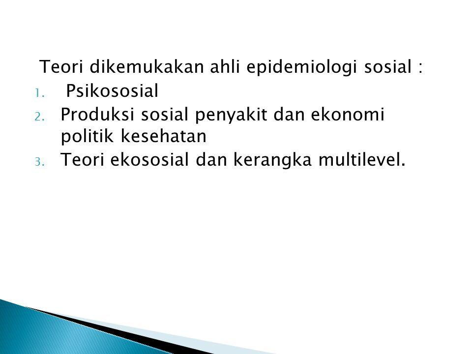 Teori dikemukakan ahli epidemiologi sosial : 1. Psikososial 2. Produksi sosial penyakit dan ekonomi politik kesehatan 3. Teori ekososial dan kerangka