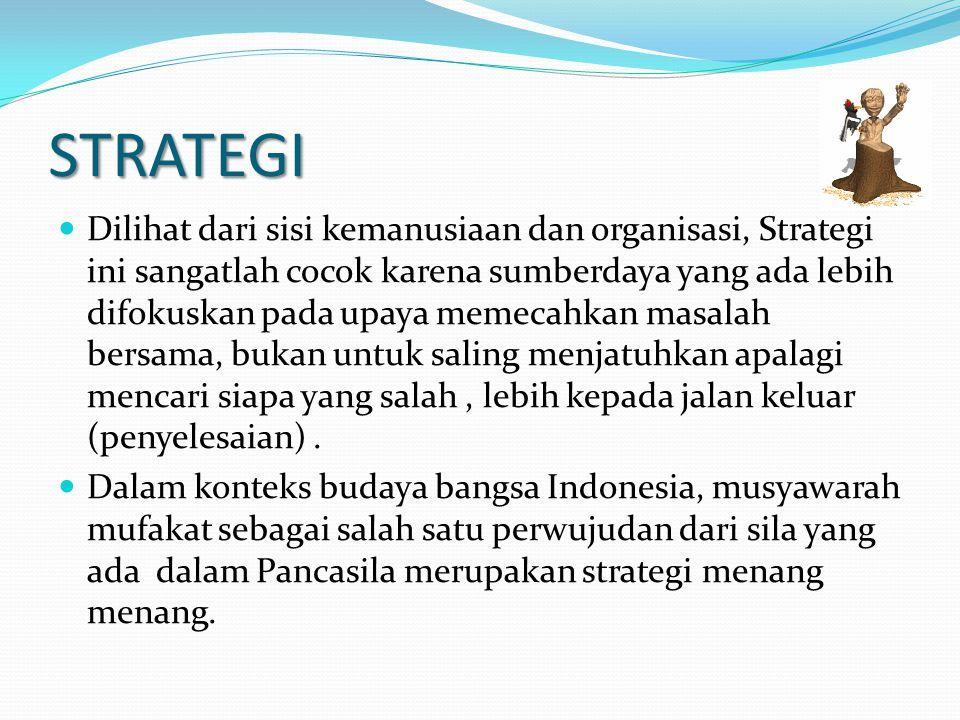 STRATEGI Dilihat dari sisi kemanusiaan dan organisasi, Strategi ini sangatlah cocok karena sumberdaya yang ada lebih difokuskan pada upaya memecahkan