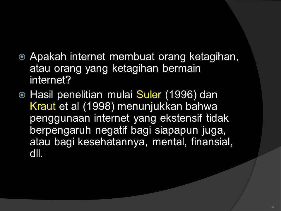  Apakah internet membuat orang ketagihan, atau orang yang ketagihan bermain internet.