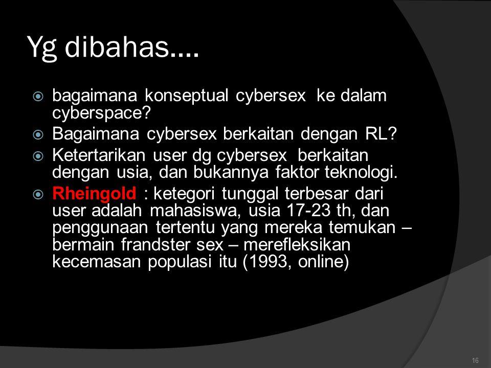 Yg dibahas....  bagaimana konseptual cybersex ke dalam cyberspace?  Bagaimana cybersex berkaitan dengan RL?  Ketertarikan user dg cybersex berkaita