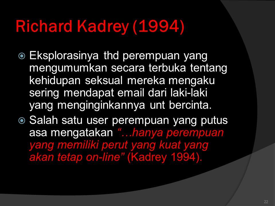 Richard Kadrey (1994)  Eksplorasinya thd perempuan yang mengumumkan secara terbuka tentang kehidupan seksual mereka mengaku sering mendapat email dari laki-laki yang menginginkannya unt bercinta.