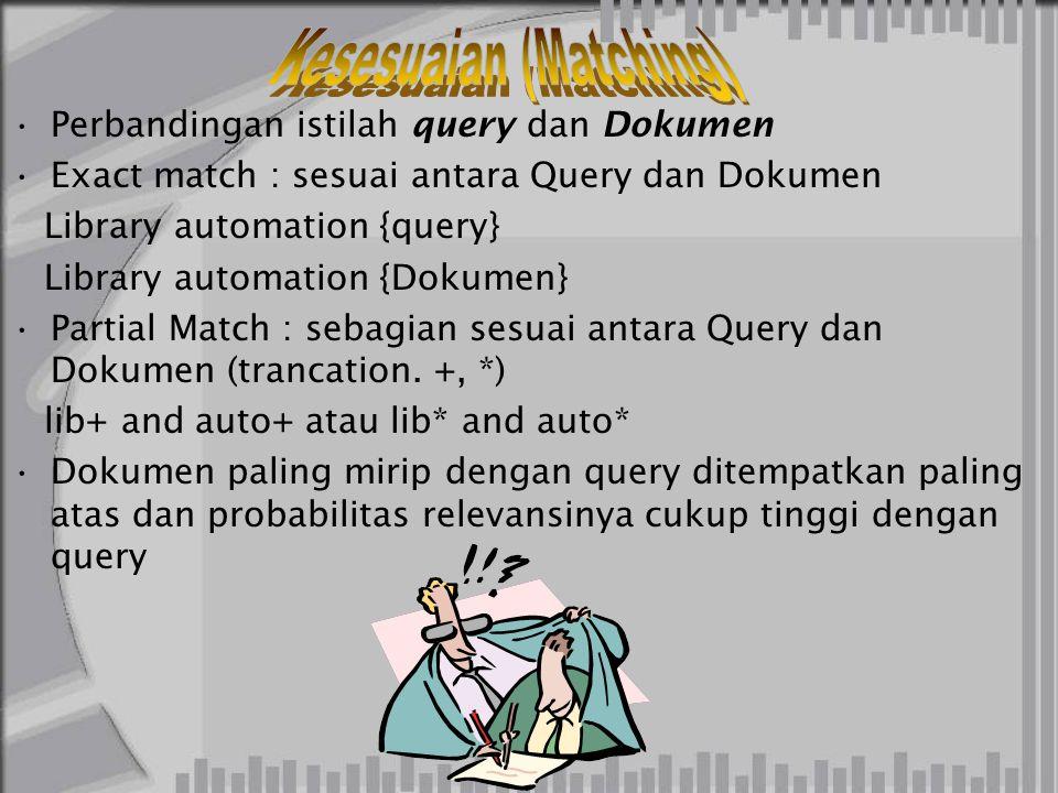 Perbandingan istilah query dan Dokumen Exact match : sesuai antara Query dan Dokumen Library automation {query} Library automation {Dokumen} Partial Match : sebagian sesuai antara Query dan Dokumen (trancation.