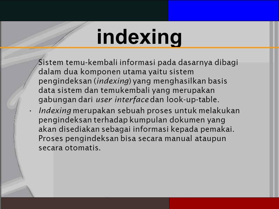 indexing Sistem temu-kembali informasi pada dasarnya dibagi dalam dua komponen utama yaitu sistem pengindeksan (indexing) yang menghasilkan basis data sistem dan temukembali yang merupakan gabungan dari user interface dan look-up-table.