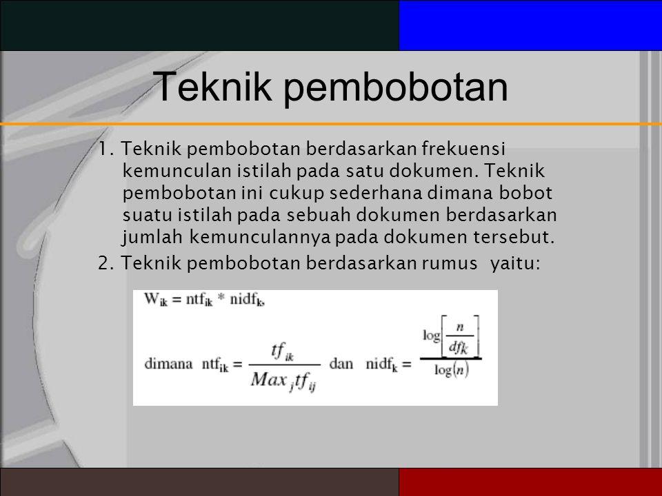 Teknik pembobotan 1.Teknik pembobotan berdasarkan frekuensi kemunculan istilah pada satu dokumen.