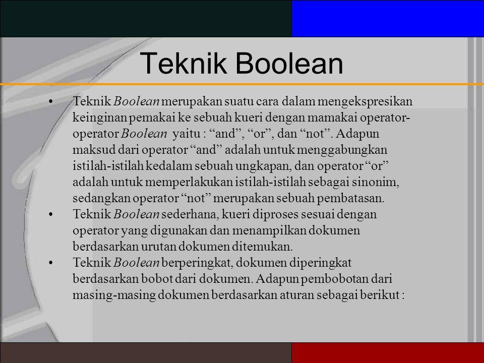 Teknik Boolean Teknik Boolean merupakan suatu cara dalam mengekspresikan keinginan pemakai ke sebuah kueri dengan mamakai operator- operator Boolean yaitu : and , or , dan not .