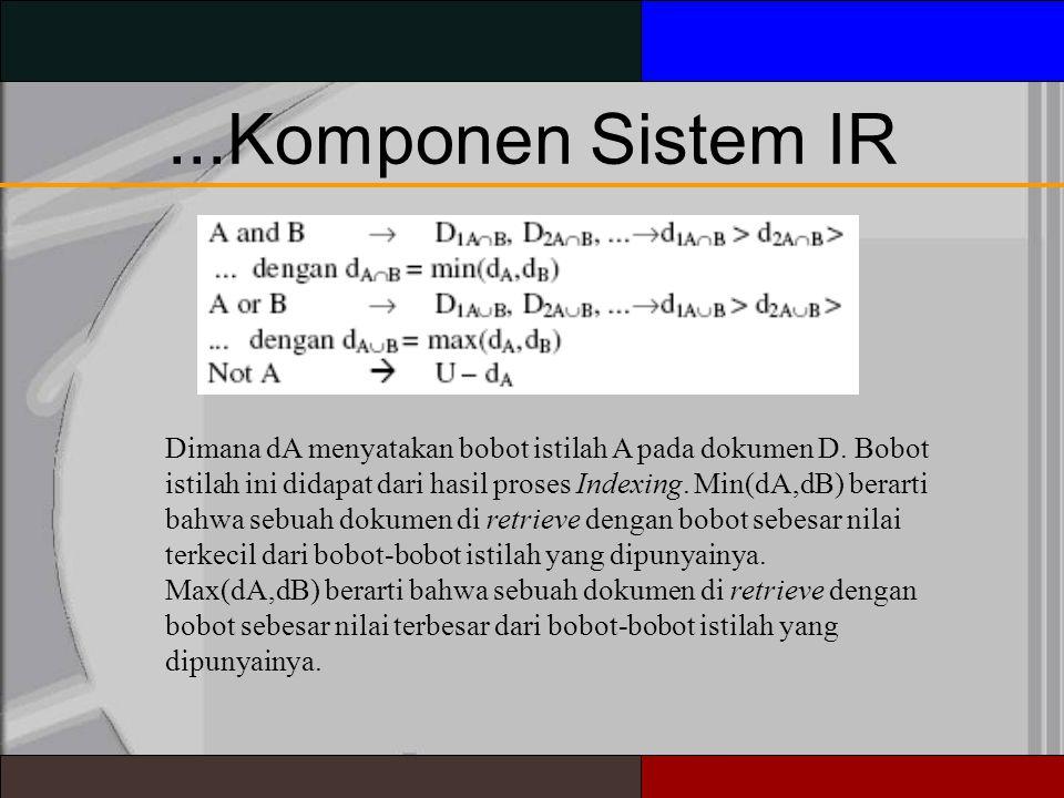...Komponen Sistem IR Dimana dA menyatakan bobot istilah A pada dokumen D.