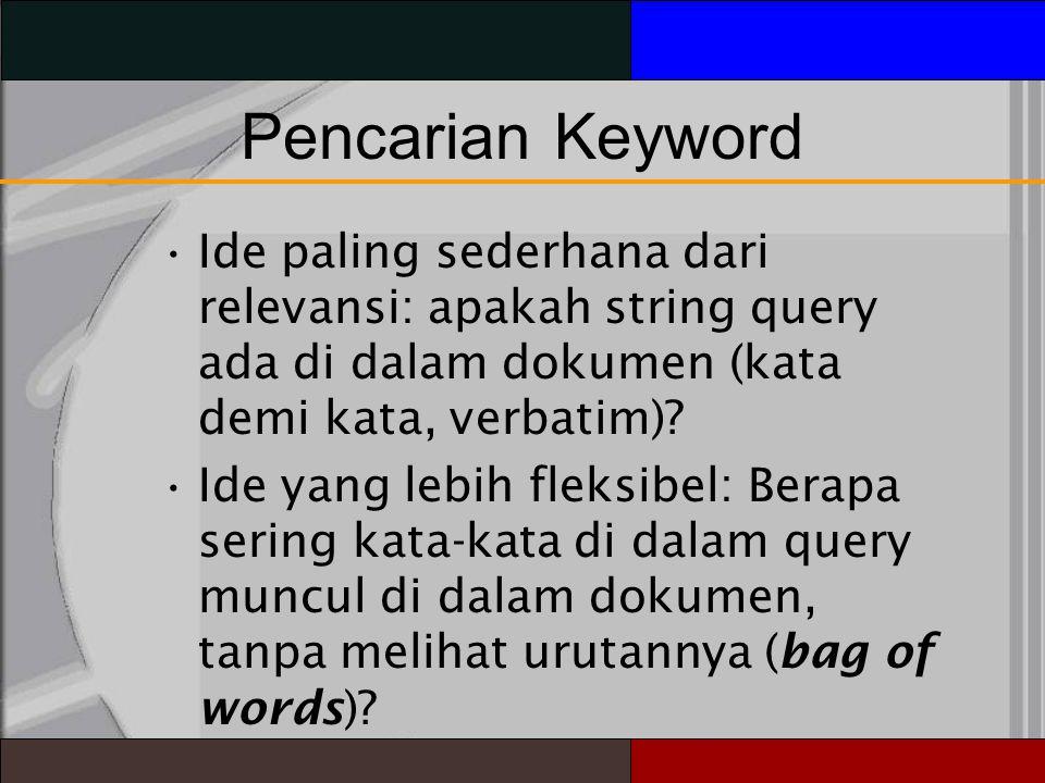 PencarianKeyword Ide paling sederhana dari relevansi: apakah string query ada di dalam dokumen (kata demi kata, verbatim).