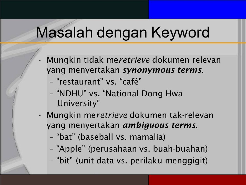 Masalah dengan Keyword Mungkin tidak meretrieve dokumen relevan yang menyertakan synonymous terms.