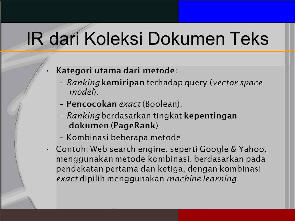 IR dari Koleksi Dokumen Teks Kategori utama dari metode: – Ranking kemiripan terhadap query (vector space model).